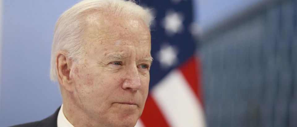 US President Joe Biden meets with NATO Secretary General during a NATO summit at the North Atlantic Treaty Organization (NATO) headquarters in Brussels on June 14, 2021. (STEPHANIE LECOCQ/POOL/AFP via Getty Images)