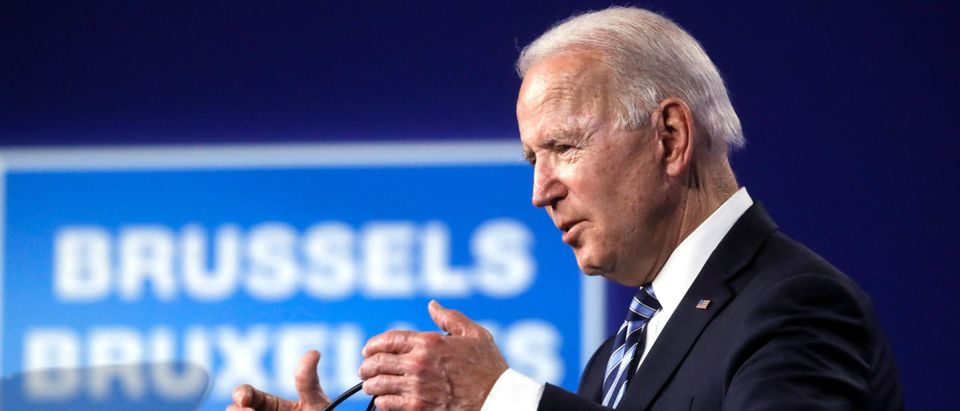 US President Joe Biden speaks during a press conference after the NATO summit at the North Atlantic Treaty Organization (NATO) headquarters in Brussels, on June 14, 2021. (OLIVIER HOSLET/POOL/AFP via Getty Images)