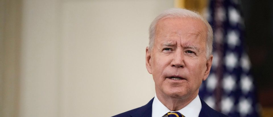 WASHINGTON, DC - JUNE 18: U.S. President Joe Biden speaks about the nation's COVID-19 response and the vaccination program in the State Dining Room of the White House on June 18, 2021 in Washington, DC. (Drew Angerer/Getty Images)