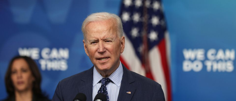 U.S. President Joe Biden (R) speaks as Vice President Kamala Harris (L) listens during an event in the South Court Auditorium of the White House June 2, 2021 in Washington, DC. (Alex Wong/Getty Images)