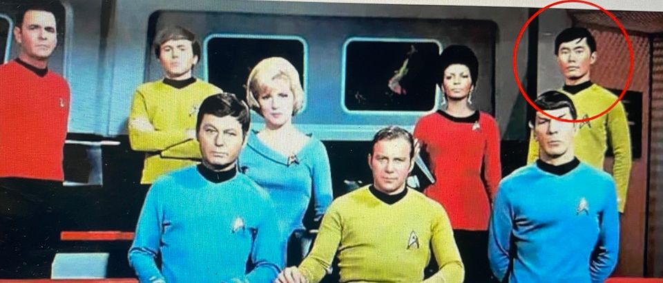 George Takei, on the upper far right, in his role as Mr. Sulu on the original Star Trek series.