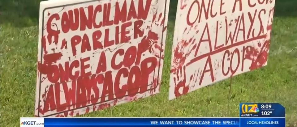 'Defund Police' Signs On Parlier Lawn