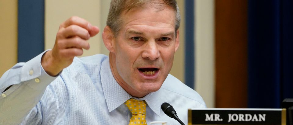 WASHINGTON, DC - MAY 19: Rep. Jim Jordan, (R-OH) speaks during a House Select Subcommittee on the Coronavirus Crisis hearing in the Rayburn House Office Building on Capitol Hill on May 19, 2021 in Washington DC. The hearing will examine the actions that Emergent took that led to the destruction of millions of doses of Coronavirus vaccines. (Photo by Stefani Reynolds-Pool/Getty Images)