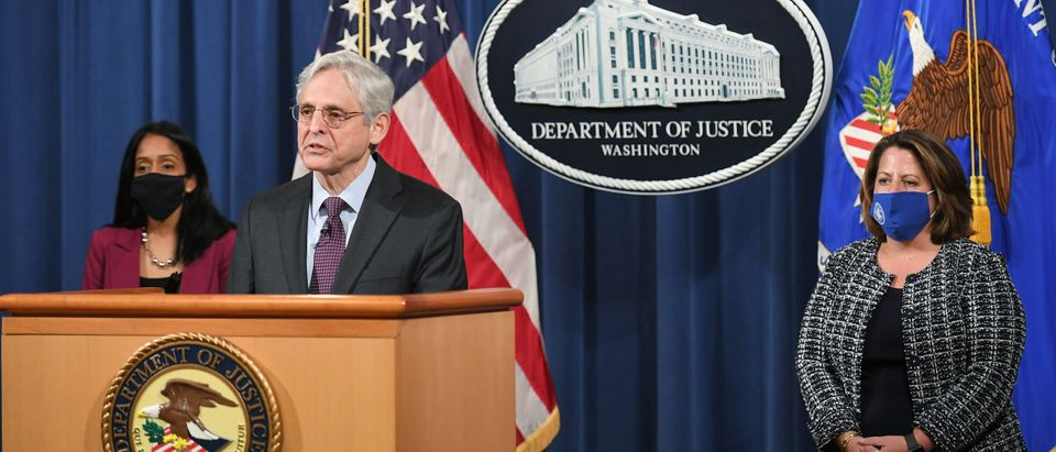 US Attorney General Merrick Garland delivers a statement at the Department of Justice.