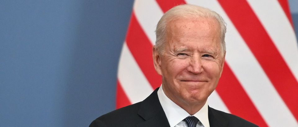President Joe Biden smiles during a bilateral meeting with Swiss president of the Swiss confederation and in Geneva on June 15, 2021. (Photo by FABRICE COFFRINI/POOL/AFP via Getty Images)