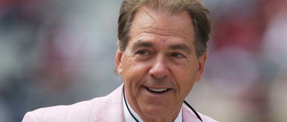 Apr 17, 2021; Tuscaloosa, Alabama, USA; Alabama Head Coach Nick Saban sports a pink coat and tie during the University of Alabama A-Day Game at Bryant-Denny Stadium. Mandatory Credit: Gary Cosby-USA TODAY Sports via Reuters