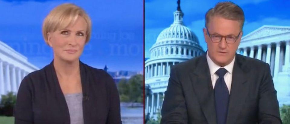 "Mika Brzezinski and Joe Scarborough appear on ""Morning Joe."" Screenshot/MSNBC"