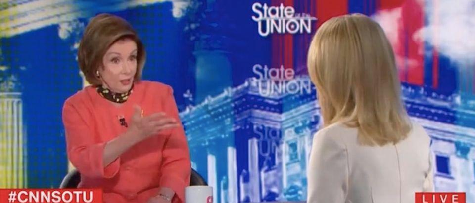 "Nancy Pelosi appears on ""State of the Union."" Screenshot/CNN"