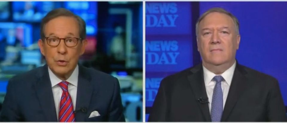 """Chris Wallace and Mike Pompeo appear on """"Fox News Sunday."""" Screenshot/Fox"""