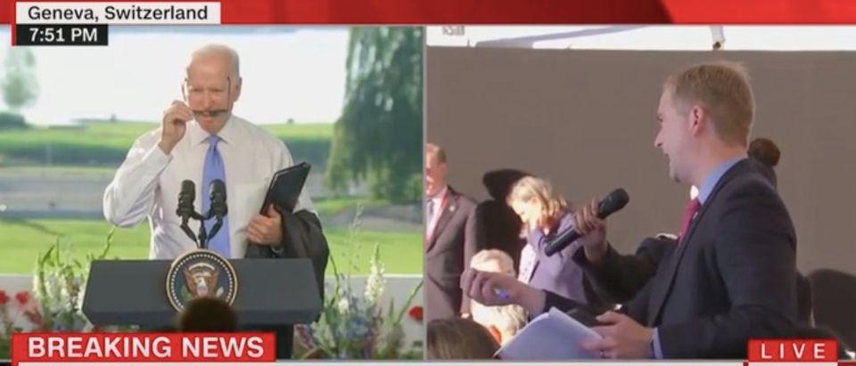 Joe Biden takes a question from Peter Doocy. Screenshot/CNN