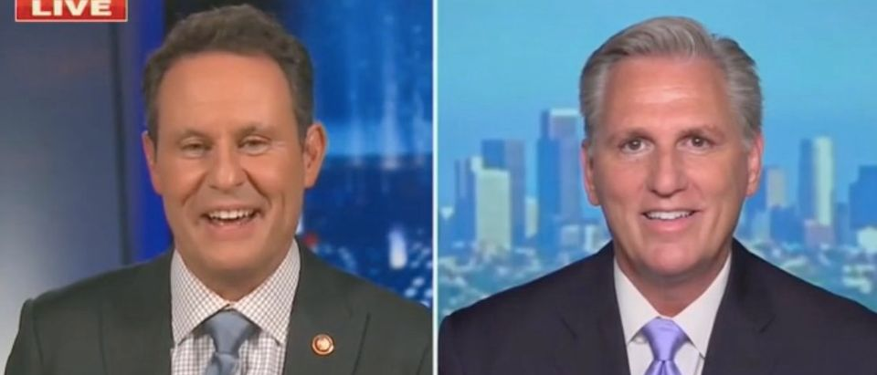 "Brian Kilmeade and Kevin McCarthy appear on ""Fox News Primetime."" Screenshot/Fox News"