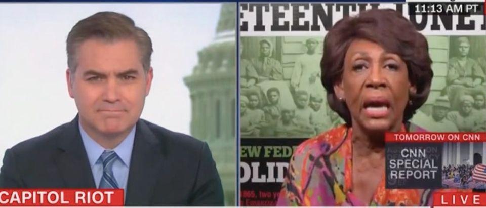 "Jim Acosta and Maxine Waters appear on ""CNN Newsroom."" Screenshot/CNN"