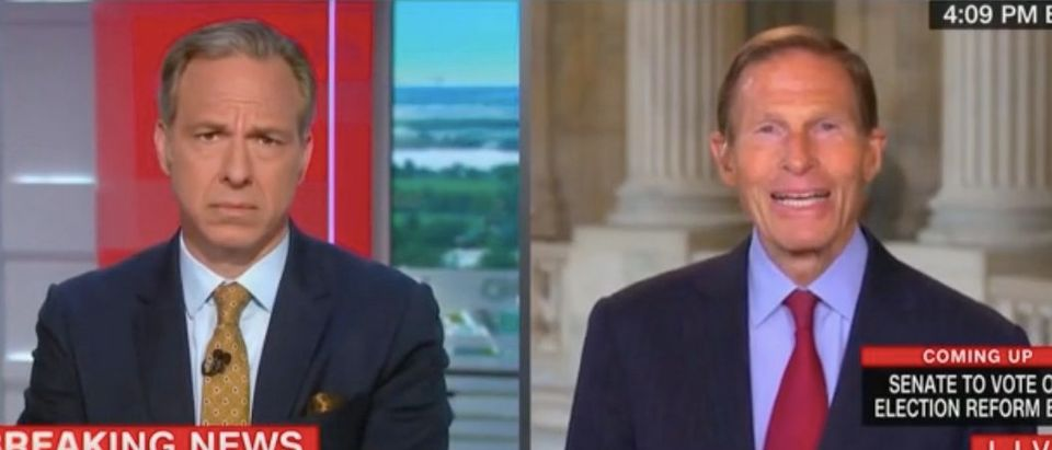 """Jake Tapper and Richard Blumenthal appear on """"The Lead."""" Screenshot/CNN"""