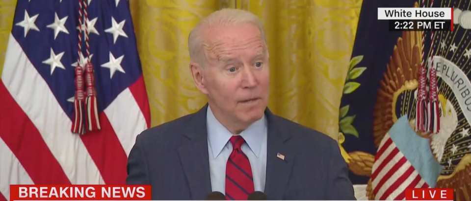 Joe Biden spoke about the infrastructure package and said he also needs a reconciliation bill before signing anything. (Screenshot CNN)