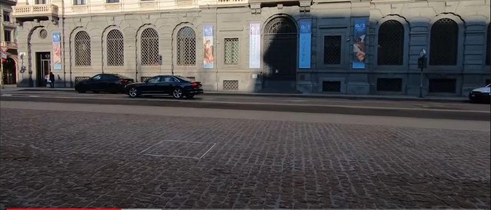 Screenshot of a video showing the sculpture