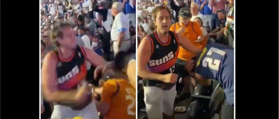 Suns, Nuggets Brawl (Credit: Screenshot/Twitter Video https://twitter.com/gabbgoudy/status/1403705069305008134/)