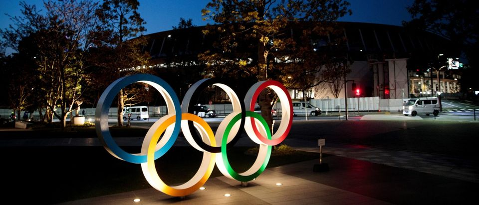 Olympic Rings Outside National Stadium in Tokyo