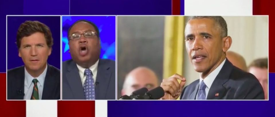 Tucker Carlson and Horace Cooper appear on Tucker Carlson Tonight. Screenshot:Fox News.