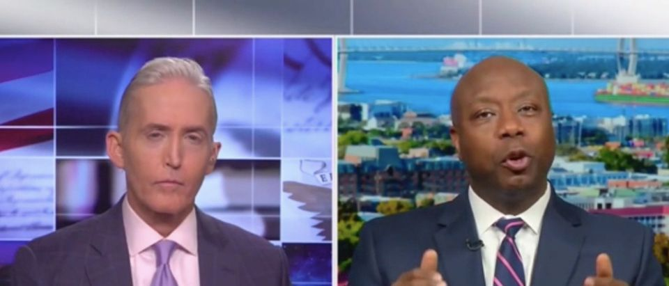 Sen. Tim Scott (R-SC) talks with Fox News host Trey Gowdy