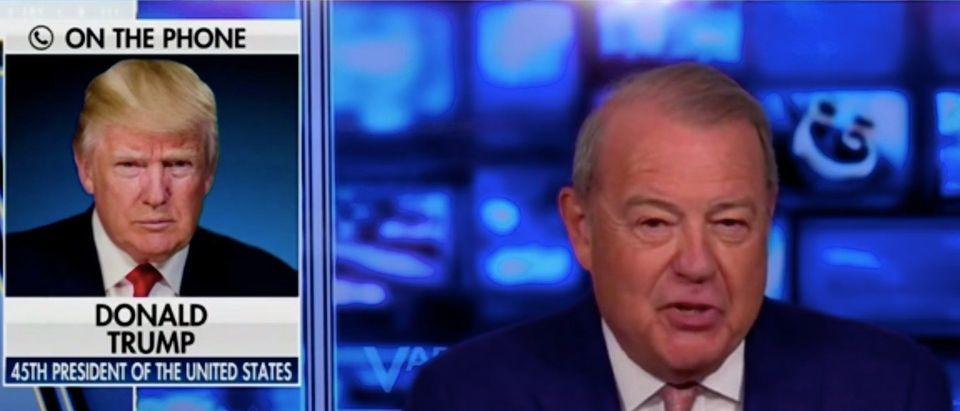 Former President Donald Trump speaks on the phone with Fox Business Network's Stuart Varney
