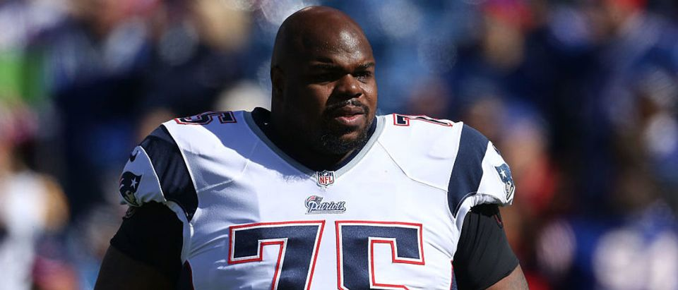 ORCHARD PARK, NY - OCTOBER 12: Vince Wilfork #75 of the New England Patriots warms up before the first half against the Buffalo Bills at Ralph Wilson Stadium on October 12, 2014 in Orchard Park, New York. (Photo by Tom Szczerbowski/Getty Images)