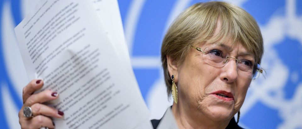 UN Human Rights High Commissioner Michelle Bachelet attends a press conference. (Photo by FABRICE COFFRINI/AFP via Getty Images)