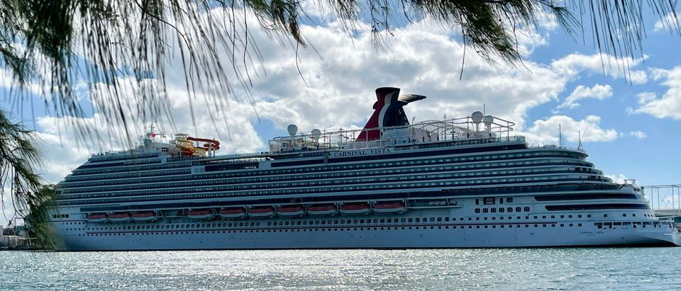 """The cruise ship """"Carnival Vista"""" part of the Carnival Cruise Line. (Photo by DANIEL SLIM/AFP via Getty Images)"""