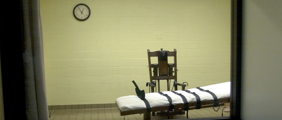 Death chamber with electric chair and lethal injection table. (Photo by Mike Simons/Getty Images)
