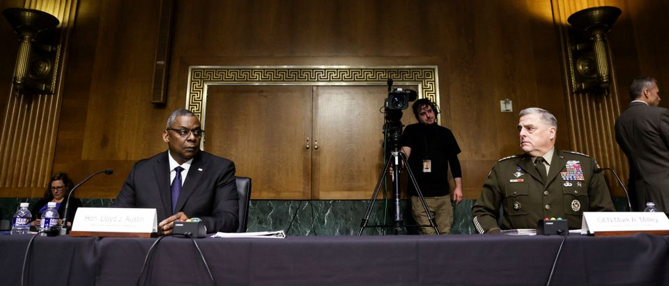 U.S. Defense Secretary Lloyd Austin (L) and Joint Chiefs of Staff Chair Gen. Mark Milley testify on the Defense Department's budget request. (Photo by Evelyn Hockstein-Pool/Getty Images)
