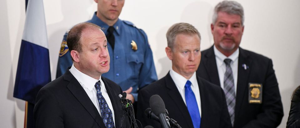 Colorado governor Jared Polis speaks to the media regarding the shooting at STEM School Highlands Ranch. (Photo by Michael Ciaglo/Getty Images)
