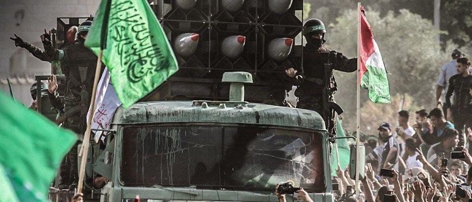 Hamas militants in a parade in Gaza