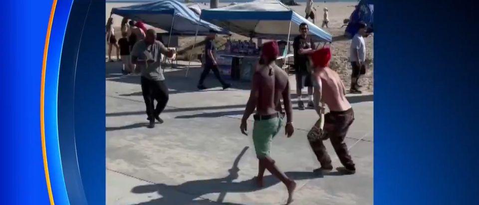 Picture of the brawl. [Twitter:Screenshot:CBSLA]
