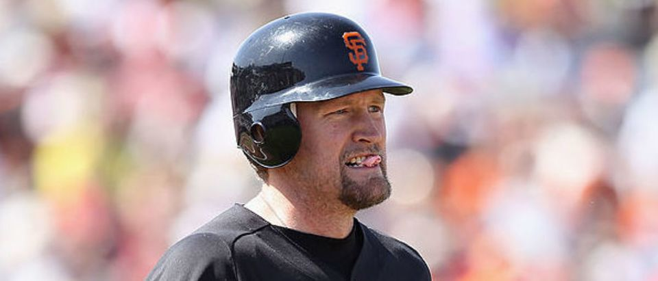SCOTTSDALE, AZ - MARCH 27: Aubrey Huff #17 of the San Francisco Giants draws a walk against the Los Angeles Angels of Anaheim during the spring training game at Scottsdale Stadium on March 27, 2012 in Scottsdale, Arizona. (Photo by Christian Petersen/Getty Images)