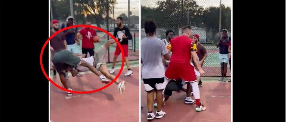 Basketball Fight (Credit: Screenshot/Twitter Video https://twitter.com/NoticeIrving/status/1420552509375098883)