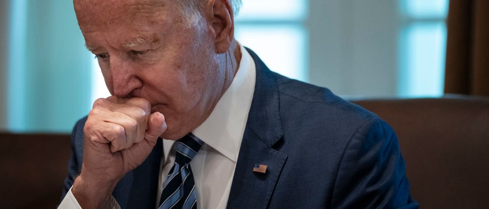 WASHINGTON, DC - JULY 20: U.S. President Joe Biden pauses while speaking at the start of a Cabinet meeting in the Cabinet Room of the White House on July 20, 2021 in Washington, DC. Six months into his presidency, this is Biden's second full Cabinet meeting. The White House said the meeting will focus on Covid-19, infrastructure, climate issues and cybersecurity. (Photo by Drew Angerer/Getty Images)
