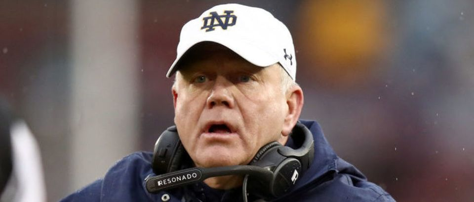 PALO ALTO, CALIFORNIA - NOVEMBER 30: Head coach Brian Kelly of the Notre Dame Fighting Irish complains about a call during their game against the Stanford Cardinal at Stanford Stadium on November 30, 2019 in Palo Alto, California. (Photo by Ezra Shaw/Getty Images)