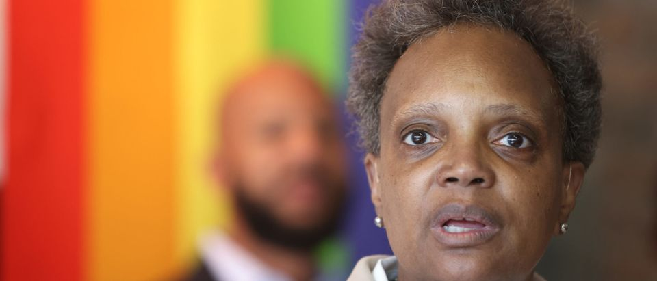 Chicago Mayor Lori Lightfoot speaks to guests at an event held to celebrate Pride Month at the Center on Halstead, a lesbian, gay, bisexual, and transgender community center, on June 07, 2021 in Chicago, Illinois. (Photo by Scott Olson/Getty Images)