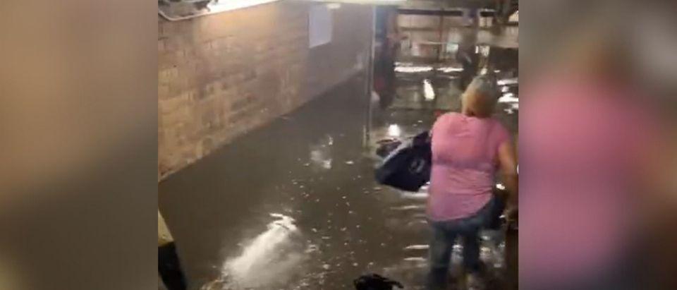 Screenshot of a video of the floods
