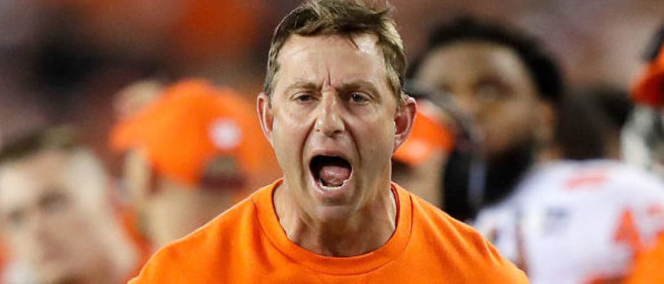 TAMPA, FL - JANUARY 09: Head coach Dabo Swinney of the Clemson Tigers reacts during the first half against the Alabama Crimson Tide in the 2017 College Football Playoff National Championship Game at Raymond James Stadium on January 9, 2017 in Tampa, Florida. (Photo by Jamie Squire/Getty Images)