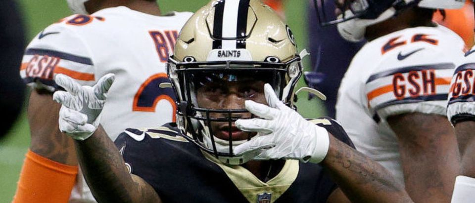 NEW ORLEANS, LOUISIANA - JANUARY 10: Deonte Harris #11 of the New Orleans Saints reacts during the first quarter against the Chicago Bears in the NFC Wild Card Playoff game at Mercedes Benz Superdome on January 10, 2021 in New Orleans, Louisiana. (Photo by Chris Graythen/Getty Images)