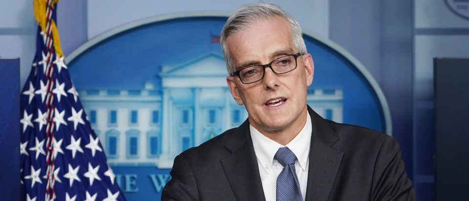 US Veterans Affairs Secretary Denis McDonough speaks during a press briefing on March 4, 2021, in the Brady Briefing Room of the White House in Washington, DC. (Photo by MANDEL NGAN / AFP) (Photo by MANDEL NGAN/AFP via Getty Images)