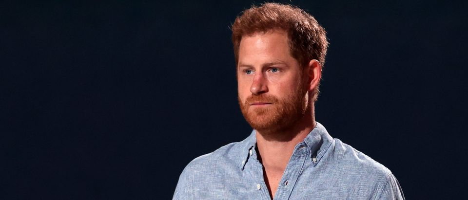 In this image released on May 2, Prince Harry, The Duke of Sussex, speaks onstage during Global Citizen VAX LIVE: The Concert To Reunite The World at SoFi Stadium in Inglewood, California. Global Citizen VAX LIVE: The Concert To Reunite The World will be broadcast on May 8, 2021. (Photo by Kevin Winter/Getty Images for Global Citizen VAX LIVE)