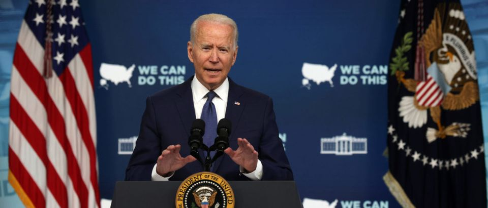 U.S. President Joe Biden speaks during an event on COVID-19 response and the vaccination program at the South Court Auditorium of Eisenhower Executive Office Building July 6, 2021 in Washington, DC. (Alex Wong/Getty Images)