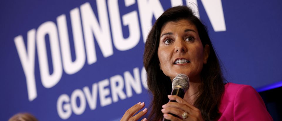 Glenn Youngkin Campaigns For Governor Of Virginia With Nikki Haley