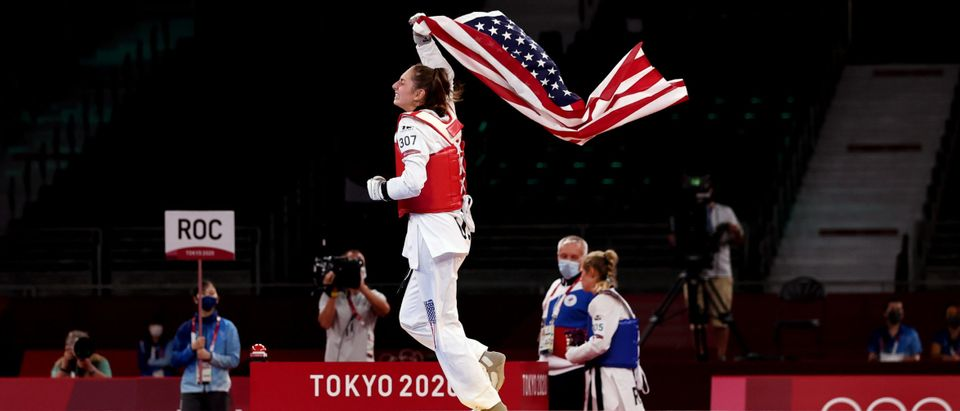 Anastasija Zolotic of Team United States celebrates after defeating Tatiana Minina of Team ROC during the Women's -57kg Taekwondo Gold Medal contest on day two of the Tokyo 2020 Olympic Games at Makuhari Messe Hall on July 25, 2021 in Chiba, Japan. (Photo by Maja Hitij/Getty Images)