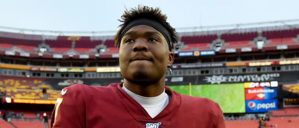 LANDOVER, MD - NOVEMBER 17: Dwayne Haskins #7 of the Washington Redskins walks off the field after the game against the New York Jets at FedExField on November 17, 2019 in Landover, Maryland. (Photo by Will Newton/Getty Images)