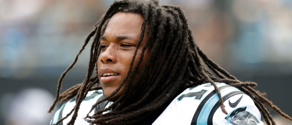 CHARLOTTE, NC - SEPTEMBER 24: Kelvin Benjamin #13 of the Carolina Panthers watches on from the sidelines against the New Orleans Saints during their game at Bank of America Stadium on September 24, 2017 in Charlotte, North Carolina. (Photo by Streeter Lecka/Getty Images)