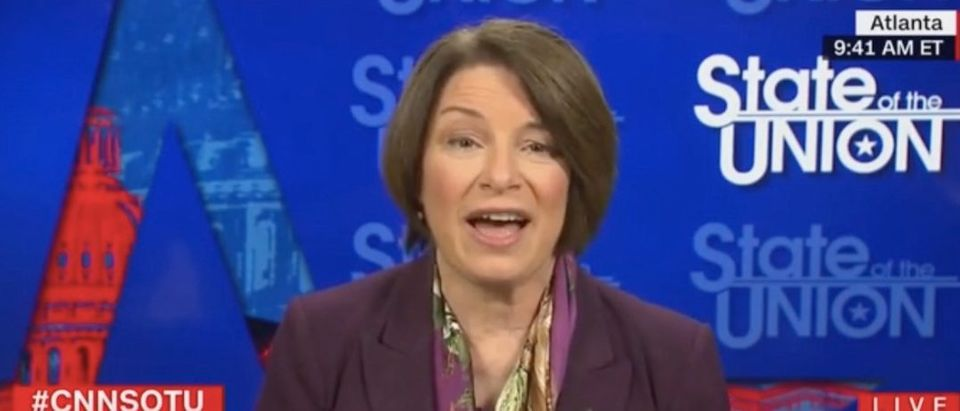 """Amy Klobuchar appears on """"State of the Union"""" Screenshot/CNN"""