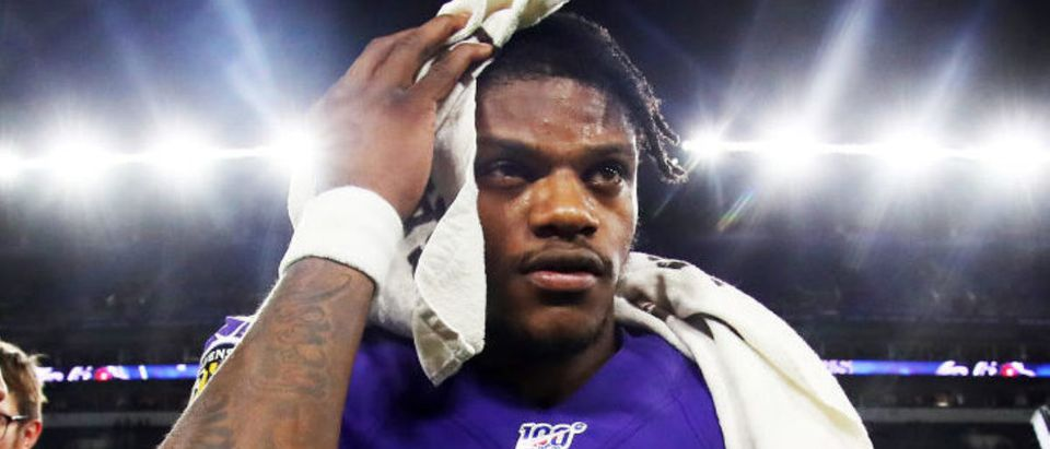 BALTIMORE, MARYLAND - JANUARY 11: Lamar Jackson #8 of the Baltimore Ravens walks off the field after being defeated by the Tennessee Titans in the AFC Divisional Playoff game 28-12 at M&T Bank Stadium on January 11, 2020 in Baltimore, Maryland. (Photo by Maddie Meyer/Getty Images)