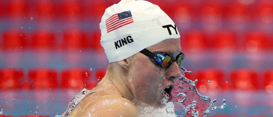 TOKYO, JAPAN - JULY 30: Lilly King of Team United States competes in heat two of the Women's 4 x 100m Medley Relay on day seven of the Tokyo 2020 Olympic Games at Tokyo Aquatics Centre on July 30, 2021 in Tokyo, Japan. (Photo by Tom Pennington/Getty Images)